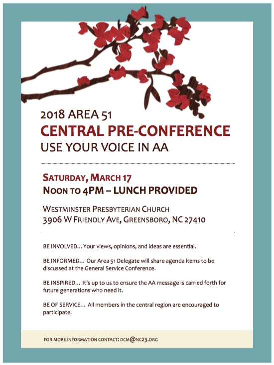 2018 Central Pre-Conference: An Event for ALL AA Members @ Westminster Presbyterian Church | Greensboro | North Carolina | United States