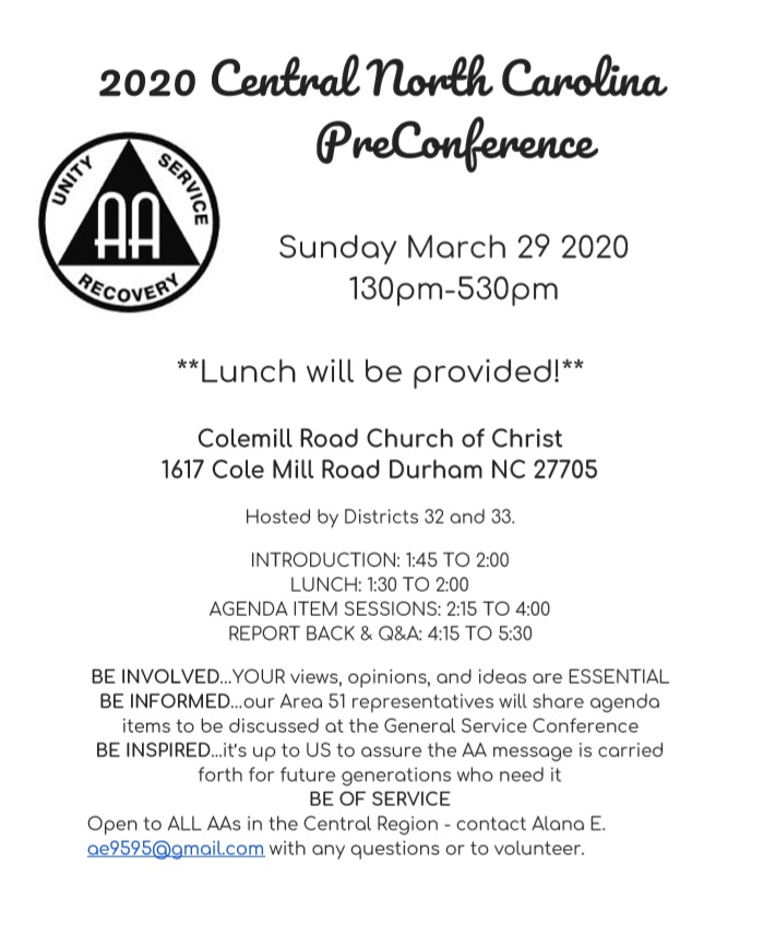 2020 Central Pre-Conference: An Event for ALL AA Members @ Cole Mill Road Church of Christ | Greensboro | North Carolina | United States