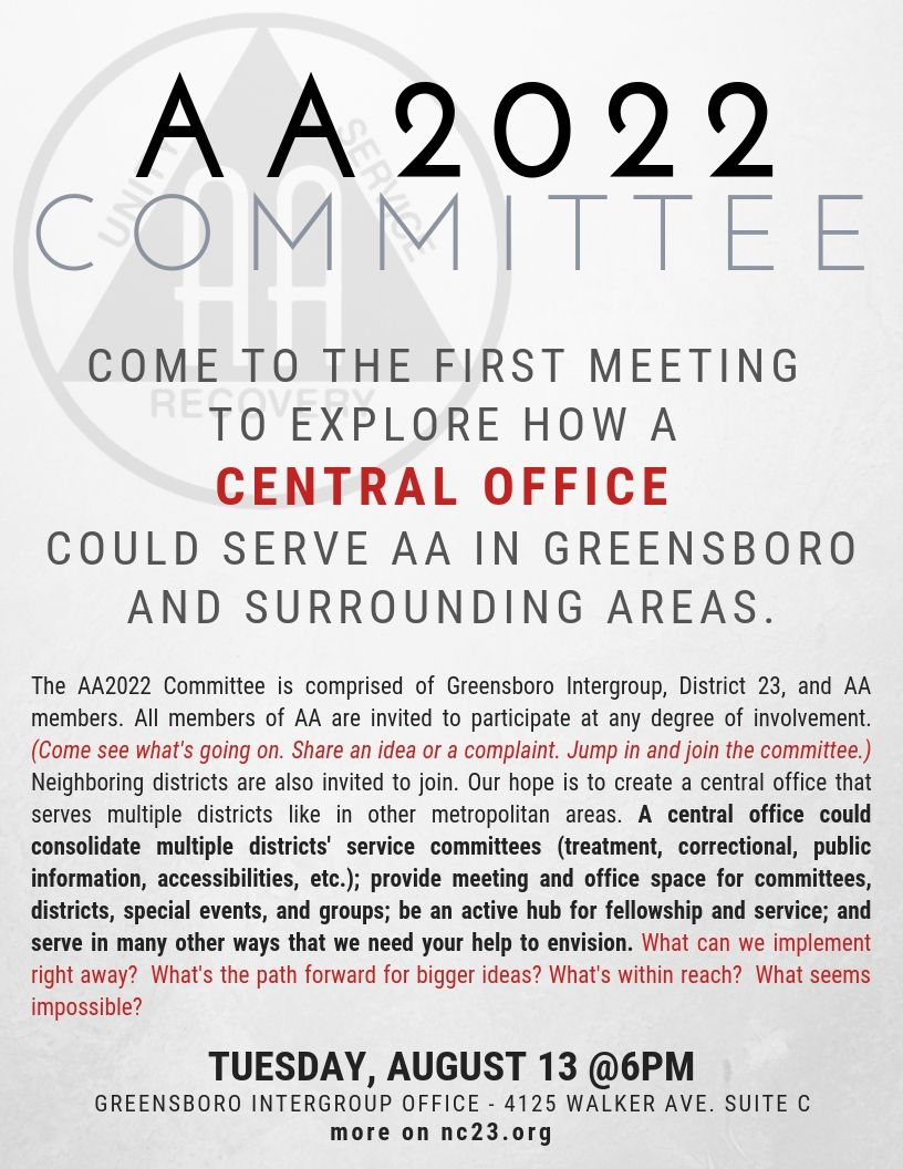 AA2022 Committee Meeting @ Greensboro Intergroup Office | Greensboro | North Carolina | United States