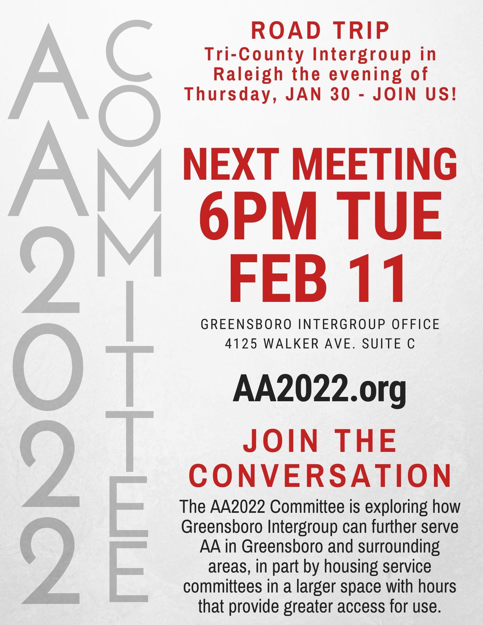AA2022 Committee Meeting @ Greensboro Intergroup Office | Greensboro | North Carolina | United States