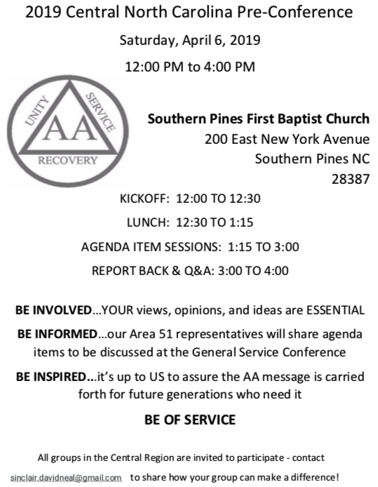2019 Central Pre-Conference: An Event for ALL AA Members @ Southern Pines First Baptist Church | Greensboro | North Carolina | United States