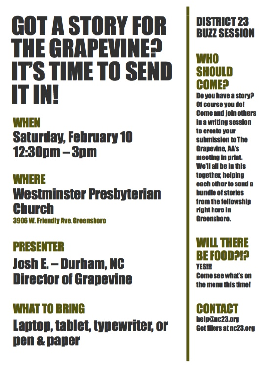 District 23 Buzz Session: Your Story Belongs in The Grapevine @ Westminster Presbyterian Church | Greensboro | North Carolina | United States