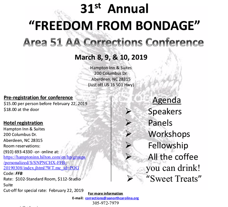 31st Annual Freedom from Bondage - Area 51 Corrections Conference @ Hampton Inn & Suites  | Aberdeen | North Carolina | United States