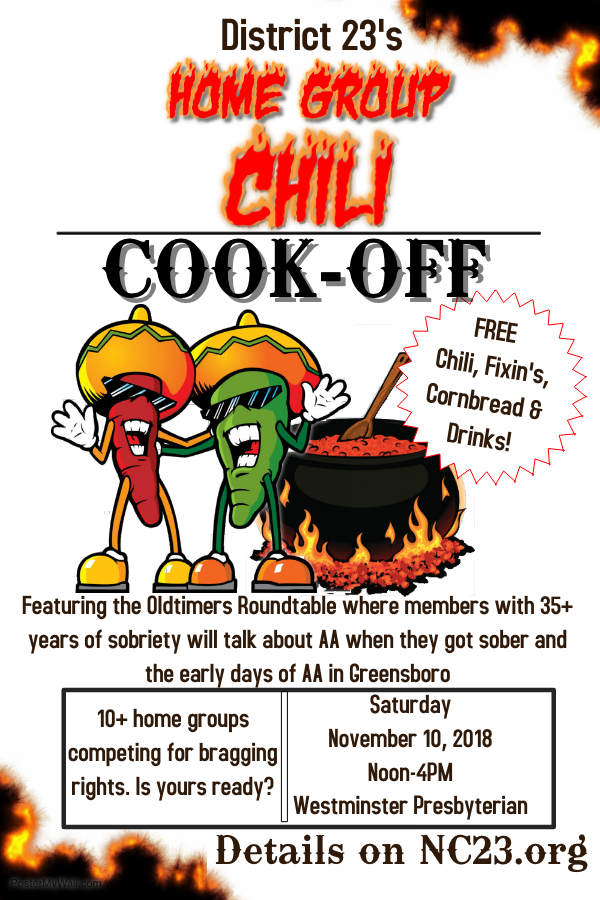 Home Group Chili Cook-Off and Oldtimers Roundtable @ Westminster Presbyterian Church | Greensboro | North Carolina | United States