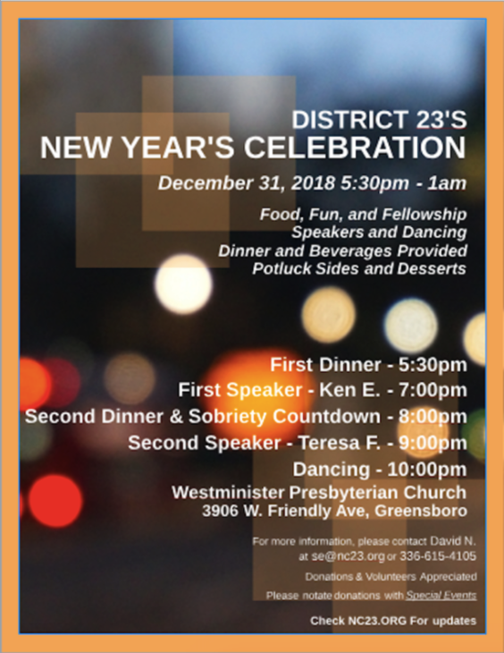 District 23's New Year's Eve Celebration @ Westminster Presbyterian Church | Greensboro | North Carolina | United States