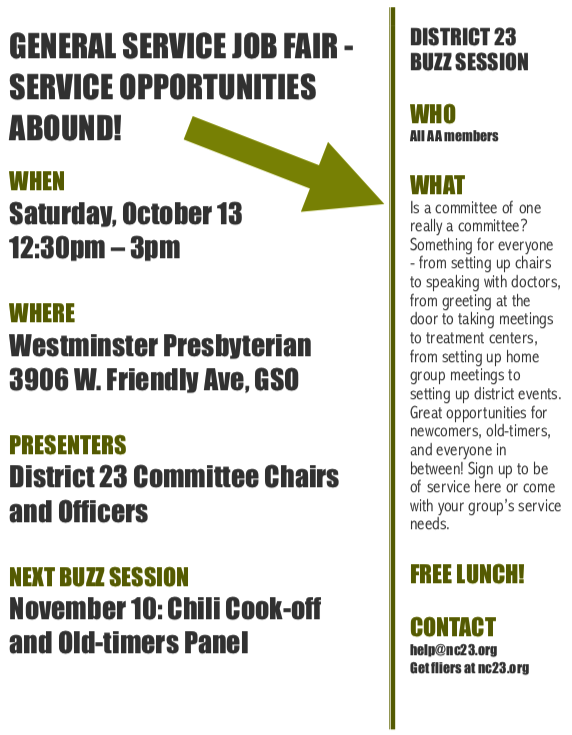Buzz Session: General Service Job Fair - Service Opportunities Abound! @ Westminster Presbyterian Church   Greensboro   North Carolina   United States