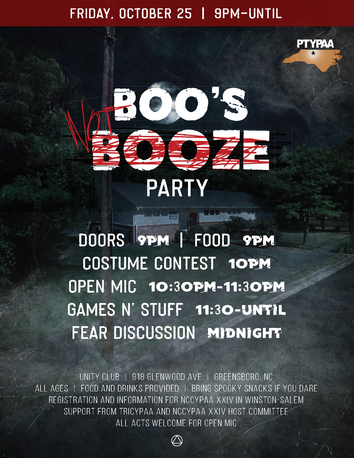 Boos not Booze - PTYPAA Halloween Party @ Unity Club