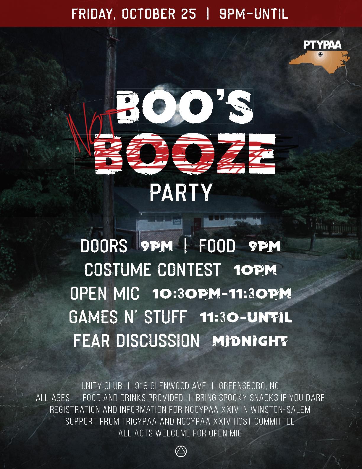 Boos not Booze - PTYPAA Halloween Party @ Unity Club