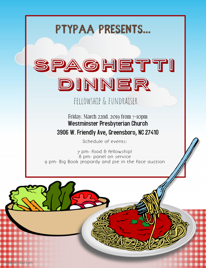 PTYPAA Spaghetti Dinner Fellowship & Fundraiser @ Westminster Presbyterian Church