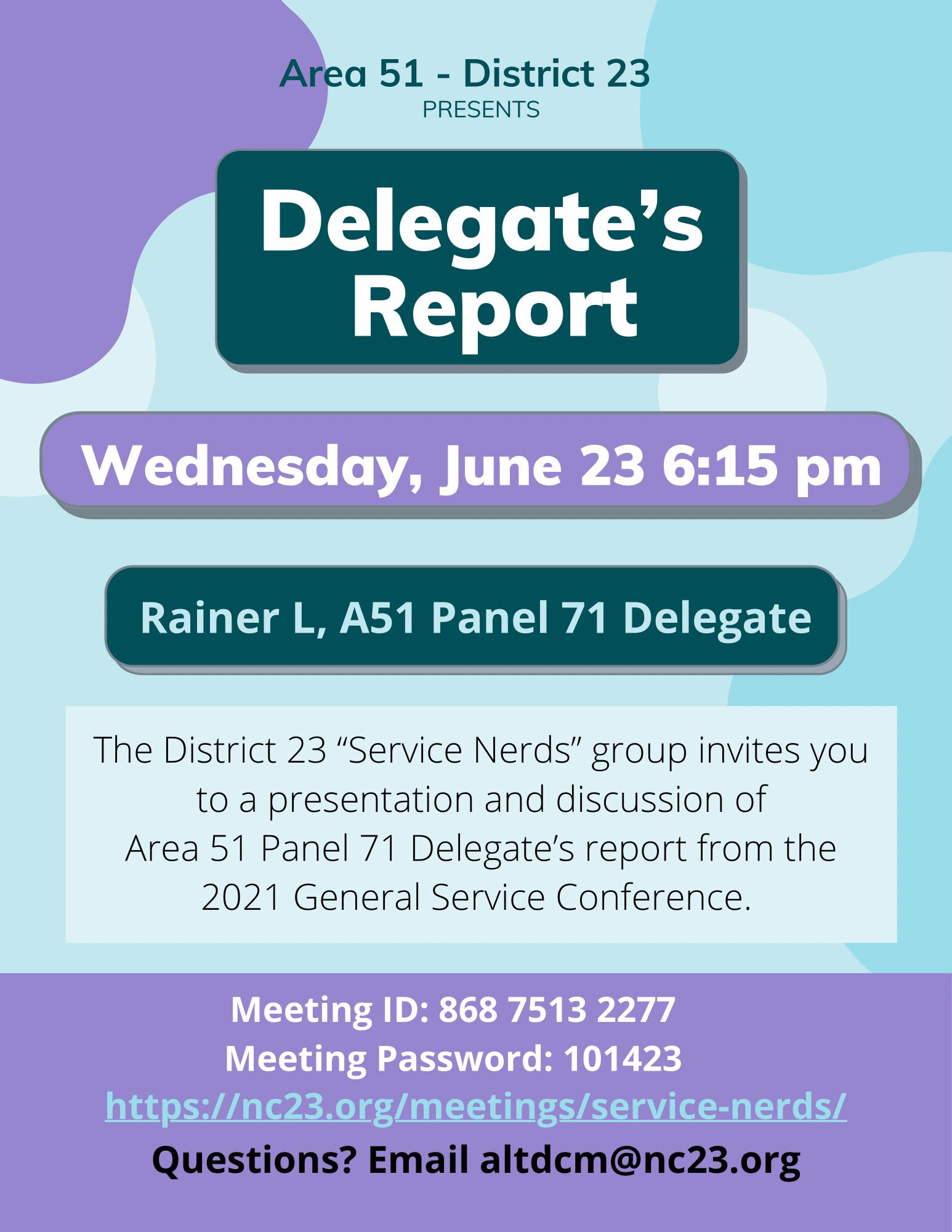 Delegate's Report - Area 51 - District 23