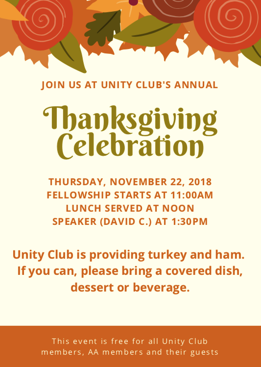 Unity Club's Annual Thanksgiving Celebration @ Unity Club | Greensboro | North Carolina | United States