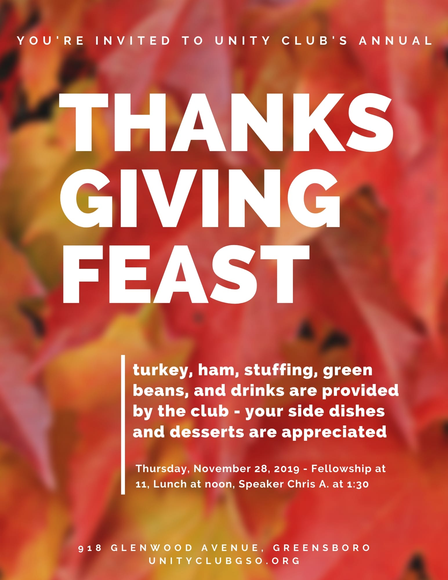 Unity Club's Annual Thanksgiving Feast @ Unity Club | Greensboro | North Carolina | United States
