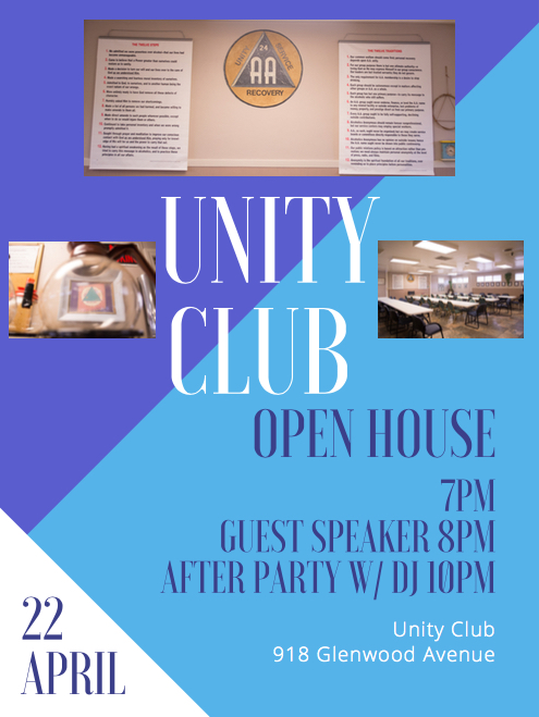 Unity Club Open House, 918 Glenwood Ave, 22APR2017 - Starts at 7PM, Guest Speaker at 8PM, After Party with DJ at 10PM