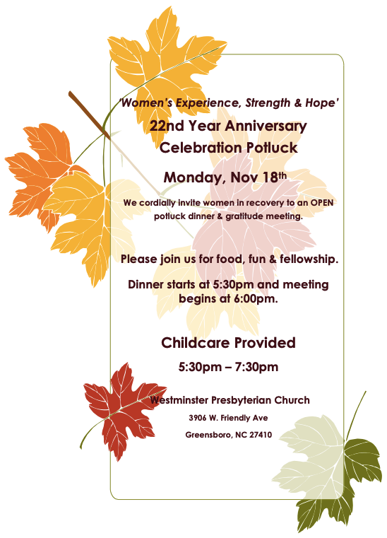 Women's Experience, Strength & Hope Group 22nd Year Anniversary Celebration Potluck @ Westminster Presbyterian Church | Greensboro | North Carolina | United States