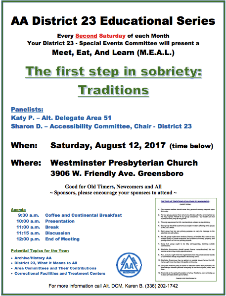 District 23 Educational Series: The First Step in Sobriety - Traditions @ Westminster Presbyterian Church | Greensboro | North Carolina | United States
